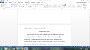 Cultural Activity Report | Documents and Forms | Research Papers