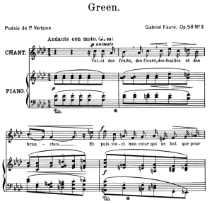Green Op.58 No.3 in A-Flat Major, High Voice in A-Flat Major, G. Fauré. For Soprano or Tenor. Ed. Leduc (A4) | eBooks | Sheet Music