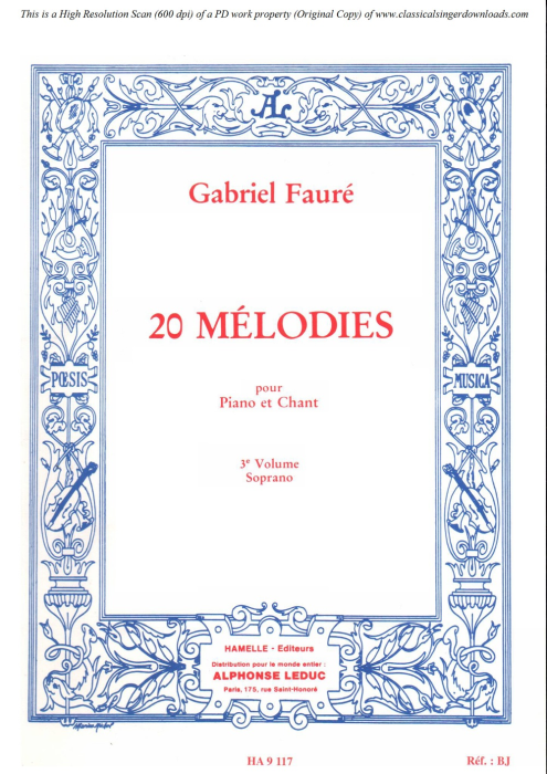 First Additional product image for - La fleur qui va sur l'eau Op.85 No.2, High Voice in D minor, G. Fauré. For Soprano or Tenor. Ed. Leduc (A4)