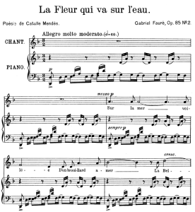 La fleur qui va sur l'eau Op.85 No.2, High Voice in D minor, G. Fauré. For Soprano or Tenor. Ed. Leduc (A4) | eBooks | Sheet Music