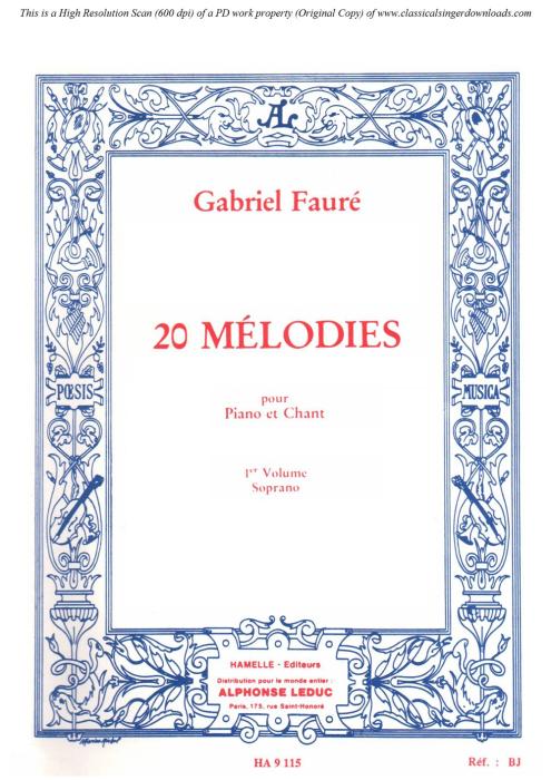 First Additional product image for - Le papillon et la fleur Op.1 No.1, High Voice in D Major, G. Fauré. For Soprano or Tenor. Ed. Leduc (A4)