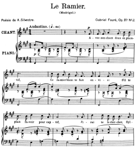 Le ramier Op.87 No.2, High Voice in F-Sharp minor, G. Fauré. For Soprano or Tenor. Ed. Leduc (A4) | eBooks | Sheet Music