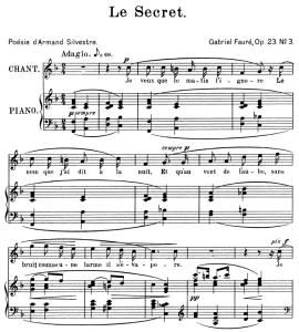 le secret op.39 no.3, high voice in f major, g. fauré. for soprano or tenor. ed. leduc (a4)