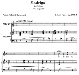 Madrigal Op.57 No.3, High Voice in F Major, G. Fauré. For Soprano or Tenor. Ed. Leduc (A4) | eBooks | Sheet Music