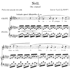 Nell Op.18 No.1, High Voice in E-Flat Major, G. Fauré. For Soprano or Tenor. Ed. Leduc (A4) | eBooks | Sheet Music
