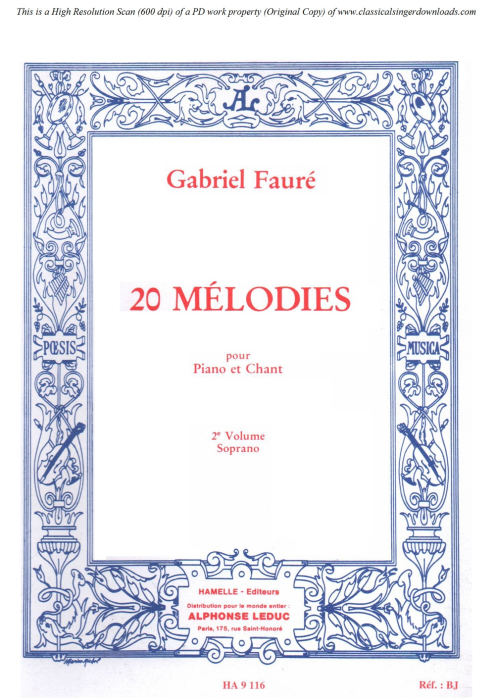 First Additional product image for - Poème d'un jour (Rencontre) Op.21 No.1, High Voice in D-Flat Major, G. Fauré. For Soprano or Tenor. Ed. Leduc (A4)