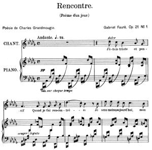 Poème d'un jour (Rencontre) Op.21 No.1, High Voice in D-Flat Major, G. Fauré. For Soprano or Tenor. Ed. Leduc (A4) | eBooks | Sheet Music