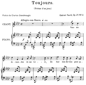 Poème d'un jour (Toujours) Op.21 No.2, High Voice in F minor, G. Fauré. For Soprano or Tenor. Ed. Leduc (A4) | eBooks | Sheet Music