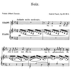 Soir Op.83 No.2, High Voice in E-Flat Major, G. Fauré. For Soprano or Tenor. Ed. Leduc (A4) | eBooks | Sheet Music