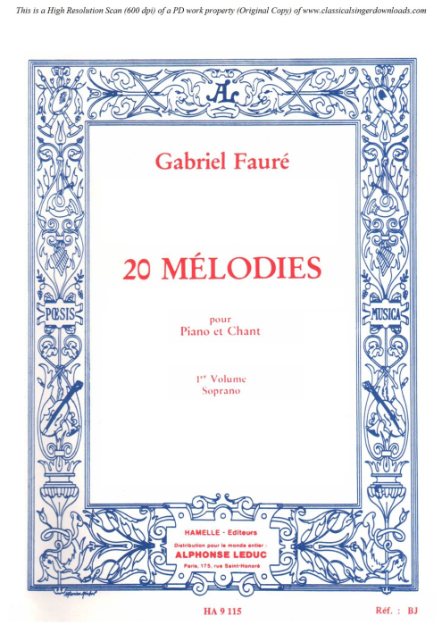 First Additional product image for - Tristesse Op. 6 No.2, High Voice in D minor, G. Fauré, for Soprano or Tenor. Ed. Leduc (A4)
