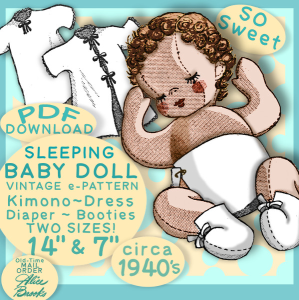 sleepy cloth baby doll vintage e-pattern pdf