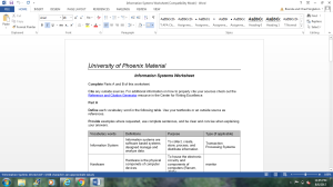 Information Systems Worksheet | Documents and Forms | Research Papers
