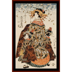 Geisha wtih Cherry Blossoms I (Asian Art) cross stitch pattern by Cross Stitch Collectibles | Crafting | Cross-Stitch | Wall Hangings