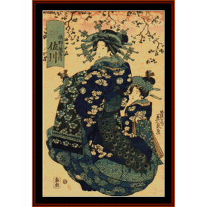 Geisha wtih Cherry Blossoms II (Asian Art) cross stitch pattern by Cross Stitch Collectibles | Crafting | Cross-Stitch | Wall Hangings