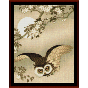 Flying Owl (Asian Art) cross stitch pattern by Cross Stitch Collectibles | Crafting | Cross-Stitch | Wall Hangings