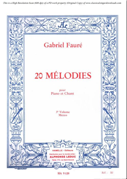 First Additional product image for - A Clymène Op.58 No.4, Medium Voice in D Minor, G. Fauré, For Mezzo or Baritone. Ed. Leduc (A4)