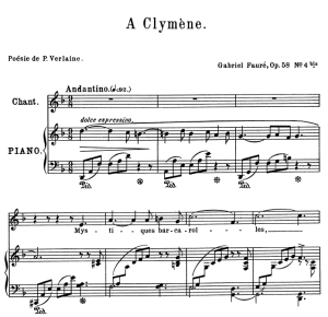 A Clymène Op.58 No.4, Medium Voice in D Minor, G. Fauré, For Mezzo or Baritone. Ed. Leduc (A4) | eBooks | Sheet Music