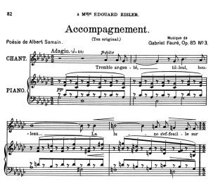 Accompagnement Op.83 No.3, Medium Voice in G-Flat Major, G. Fauré, For Mezzo or Baritone. Ed. Leduc (A4)   eBooks   Sheet Music