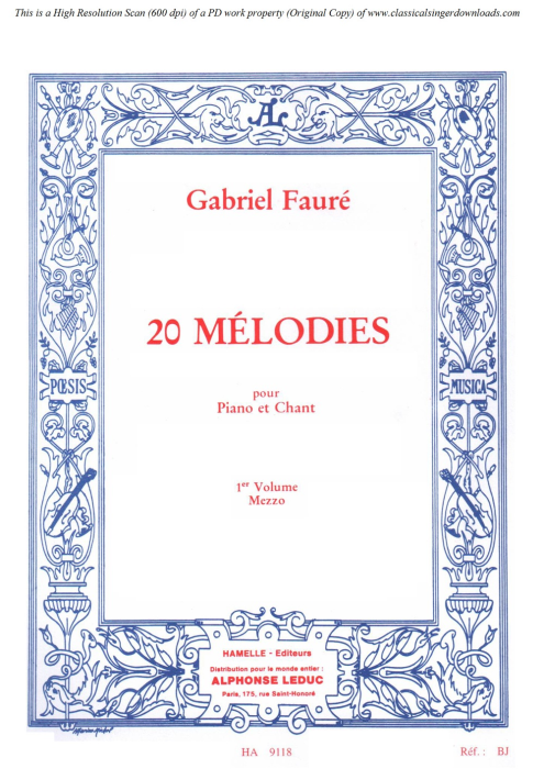 First Additional product image for - Après un rêve Op.7 No.1, Medium Voice in C Minor, G. Fauré, For Mezzo or Baritone. Ed. Leduc (A4)
