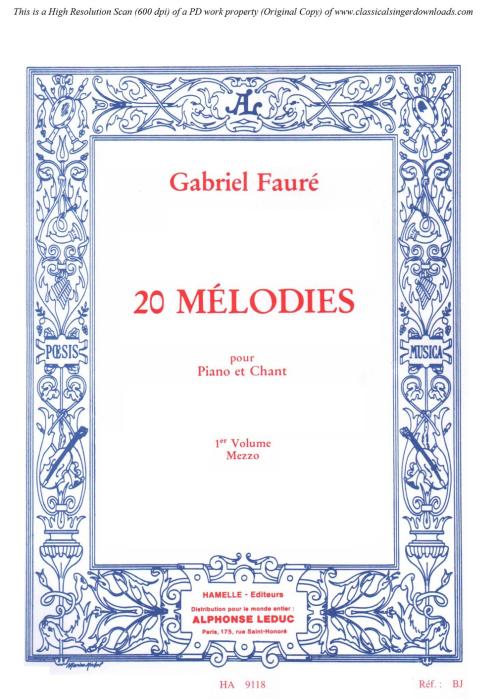 First Additional product image for - Au bord de l'eau Op.8 No.1, Medium Voice in C Minor, G. Fauré,  For Mezzo or Baritone. Ed. Leduc (A4)