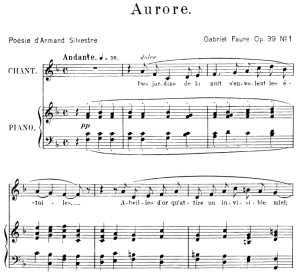 Aurore Op.39 No.1, Medium Voice in F Major, G. Fauré, For Mezzo or Baritone. Ed. Leduc (A4) | eBooks | Sheet Music