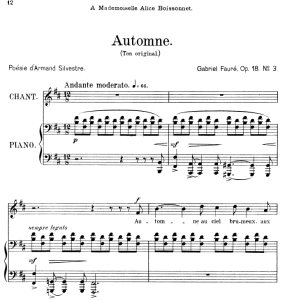 Automne Op.18 No.3, Medium Voice in B minor, G. Fauré, For Mezzo or Baritone. Ed. Leduc (A4) | eBooks | Sheet Music