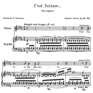 C'est l'extase...Op.58 No.5, Medium Voice in D-Flat Major G. Fauré, for Mezzo or Baritone. Ed. Leduc (A4) | eBooks | Sheet Music