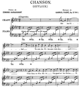 Chanson (Shylock) Op.57 No.1, Medium Voice in A-Flat Major G. Fauré, for Mezzo or Baritone. Ed. Leduc (A4) | eBooks | Sheet Music