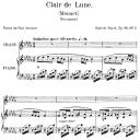 Clair de lune  Op.46 No.2, Medium Voice in B-Flat minor, G. Fauré. For Mezzo or Baritone. Ed. Leduc (A4) | eBooks | Sheet Music