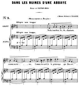 dans les ruines d'une abbaye op. 2 no.1, medium voice in a-flat major, g. fauré. for mezzo or baritone. ed. leduc (a4)