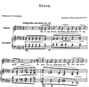 Green Op.58 No.3, Medium Voice in G-Flat Major, G. Fauré. For Mezzo or Baritone. Ed. Leduc (A4) | eBooks | Sheet Music