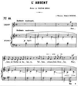 L'absent Op.5 No.3, Medium Voice A minor, G. Fauré. For Mezzo or Baritone. Ed. Leduc (A4) | eBooks | Sheet Music