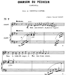 La chanson du pêcheur Op.4 No.1, Medium Voice F minor, G. Fauré. For Mezzo or Baritone. Ed. Leduc (A4) | eBooks | Sheet Music