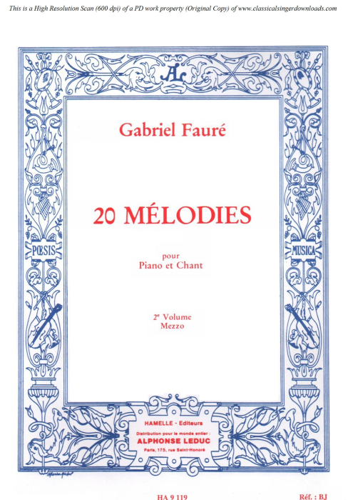 First Additional product image for - La fée aux chansons Op. 27 No.2, Medium Voice in D Major, G. Fauré. For Mezzo or Baritone. Ed. Leduc (A4)