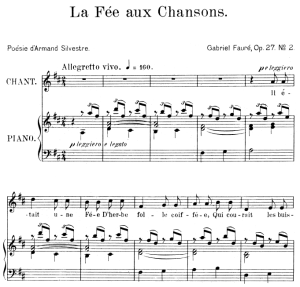 La fée aux chansons Op. 27 No.2, Medium Voice in D Major, G. Fauré. For Mezzo or Baritone. Ed. Leduc (A4) | eBooks | Sheet Music