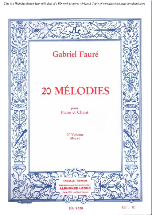 First Additional product image for - La fleur qui va sur l'eau Op.85 No.2, Medium Voice in B minor G. Fauré. For Mezzo or Baritone. Ed. Leduc (A4)