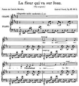 La fleur qui va sur l'eau Op.85 No.2, Medium Voice in B minor G. Fauré. For Mezzo or Baritone. Ed. Leduc (A4) | eBooks | Sheet Music