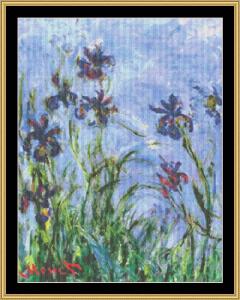 Irises - Monet | Crafting | Cross-Stitch | Wall Hangings