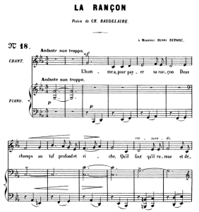 La rançon Op.8 No.2, Medium Voice C minor, G. Fauré. For Mezzo or Baritone. Ed. Leduc (A4) | Crafting | Cross-Stitch | Wall Hangings