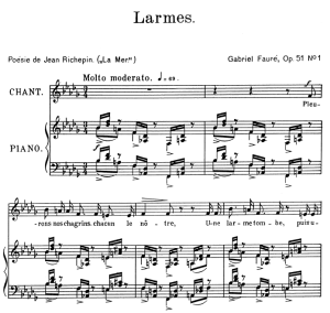 larmes op. 51 no.1, medium voice in b-flat minor, g. fauré. for mezzo or baritone. ed. leduc (a4)