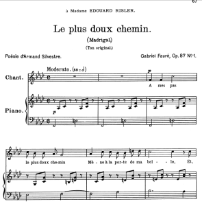 Le plus doux chemin Op.87 No.1, Medium Voice in F minor, G. Fauré. For Mezzo or Baritone. Ed. Leduc (A4) | eBooks | Sheet Music