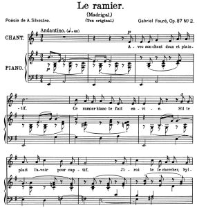 Le ramier Op.87 No.2, Medium Voice in F minor, G. Fauré. For Mezzo or Baritone. Ed. Leduc (A4) | eBooks | Sheet Music