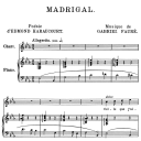 Madrigal Op.87 No.2, Medium Voice in E-Flat Major, G. Fauré. For Mezzo or Baritone. Ed. Leduc (A4) | eBooks | Sheet Music