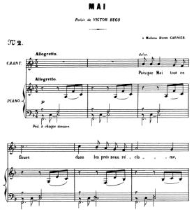 Mai Op.1 No.2, Medium Voice in F Major, G. Fauré. For Mezzo or Baritone. Ed. Leduc (A4) | eBooks | Sheet Music