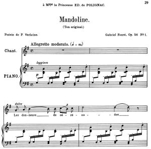 Mandoline Op.58 No.1, Medium Voice in G Major, G. Fauré. For Mezzo or Baritone. Ed. Leduc (A4) | eBooks | Sheet Music