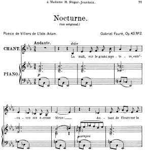 Nocturne Op.43 No.2, Medium Voice in E-Flat Major, G. Fauré. For Mezzo or Baritone. Ed. Leduc (A4) | eBooks | Sheet Music