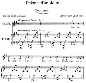 ème d'un jour (toujours) op.21 no.2, medium voice in e minor, g. fauré. for mezzo or baritone. ed. leduc (a4)