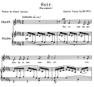 Soir Op.83 No.2, Medium Voice in D-Flat Major, G. Fauré. For Mezzo or Baritone. Ed. Leduc (A4) | eBooks | Sheet Music