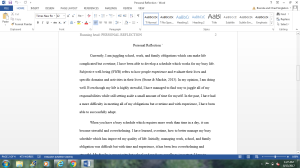 Personal Reflection Paper   Documents and Forms   Research Papers