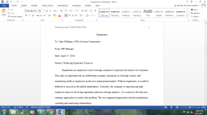 Assignment 2: Expatriates | Documents and Forms | Research Papers